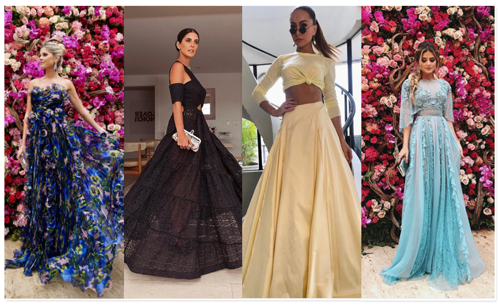 Lala Rudge, de Gucci  Andrea Conti, de Paula Raia  Sabrina Sato, de Maison  Alexandrine  e Thassia Naves, de Zuhair Murad 35d4fcdd05
