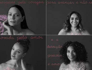 Verena Smit faz intervenção artística em campanha contra o câncer de mama