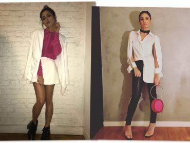 Nanda Costa vai à festa da Revista J.P com look trabalhado em alfaiataria sexy