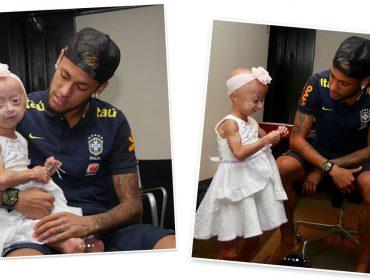 Neymar se encanta por fã e entra em campo com ela no jogo da seleção brasileira nessa terça