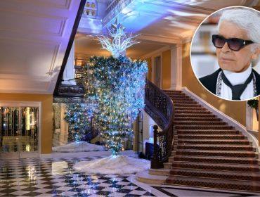 Karl Lagerfeld coloca árvore de Natal inusitada na decoração de tradicional hotel de Londres