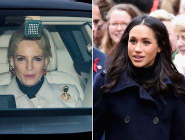 """Prima de Elizabeth II usa broche """"racista"""" em almoço real e causa desconforto a Meghan Markle"""