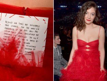 Protesto: veja a mensagem feminista que Lorde incluiu em seu look para o Grammy…