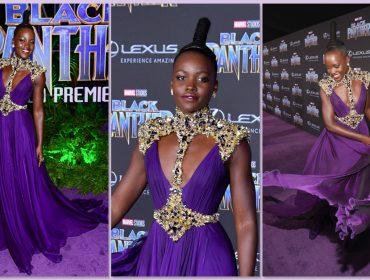 """Não tem pra ninguém! Lupita Nyong'o arrasa na première de """"Pantera Negra"""""""