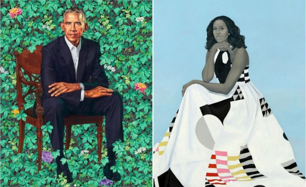 Barack Obama retratado por Kehinde Wiley e Michelle Obama na interpretação de Amy Sherald || Créditos Reprodução