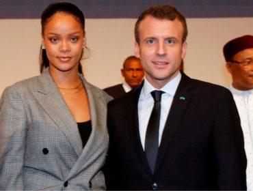 Macron, presidente da França, vai enviar mais de R$ 800 mi para ONG a pedido de Rihanna