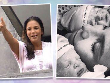 """Ivete aparece na sacada da maternidade e fala sobre as filhas: """"Puxaram a mamãe"""""""