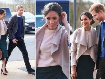 Meghan Markle veste design de Victoria Beckham em visita surpresa à Irlanda do Norte