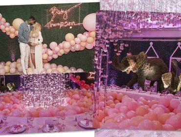 A savana pink e luxuosa armada por Khloé Kardashian para o chá de bebê de sua filha