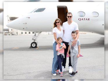 Tom Brady, Gisele e os filhos desembarcam no Catar com honras de chefes de estado