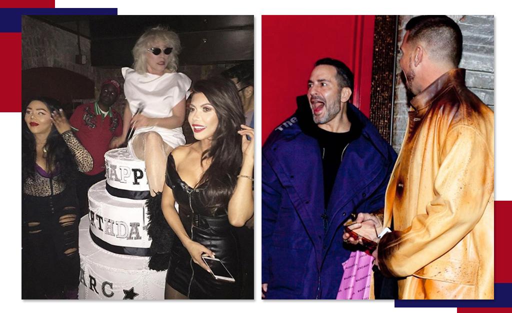 Debbie Harry sobre o bolo de aniversário e Marc Jacobs com o noivo Char  Defrancesco da hora da surpresa    Créditos  Reprodução Instagram eb049b8080