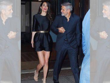 George e Amal Clooney combinam look em noite de comemoração do aniversário do ator