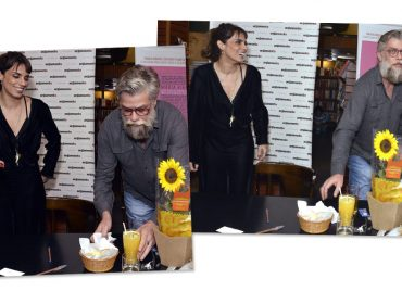 Fabio Assunção faz o namorado prestativo em lançamento do livro de Maria Ribeiro