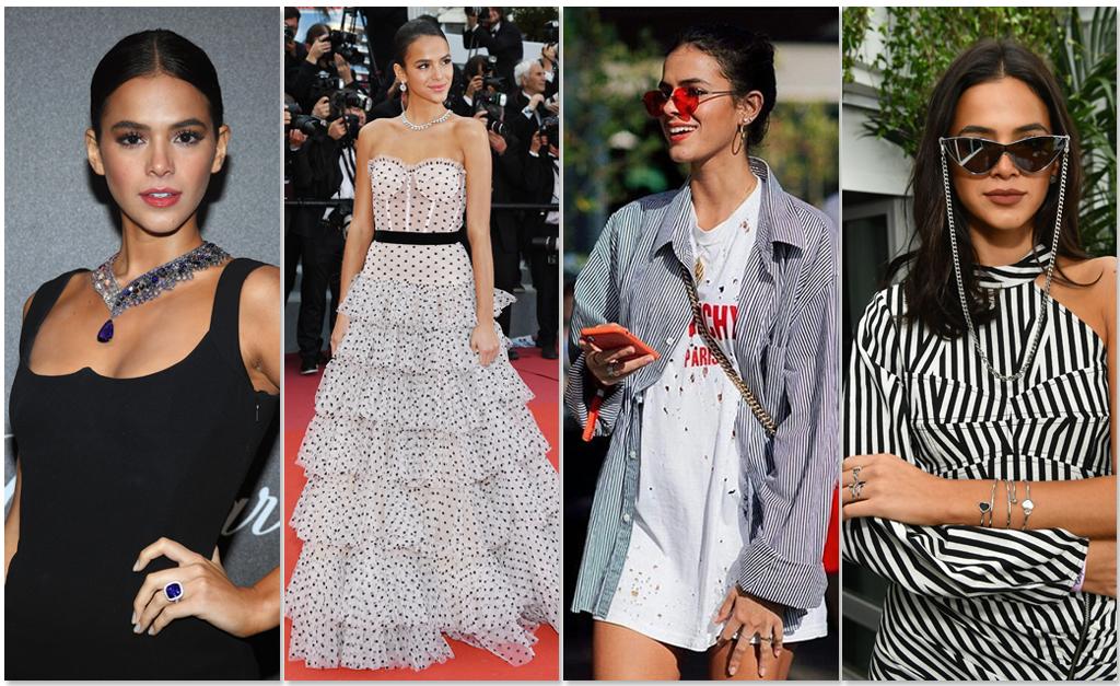 2651fd6384199 Bruna Marquezine com quatro produções diferentes usadas no Festival de  Cinema de Cannes 2018    Créditos  Getty Images Reprodução
