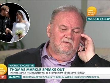 Em entrevista à TV britânica, pai de Meghan Markle diz que chorou ao vê-la se casando com Harry