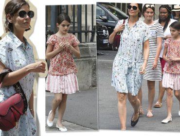 Katie Holmes e Suri Cruise passeiam por Paris com looks despojados e grifados
