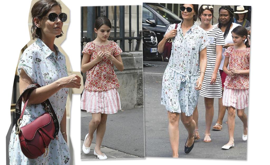 66655ca752c Katie Holmes e Suri Cruise passeiam por Paris com looks despojados e ...
