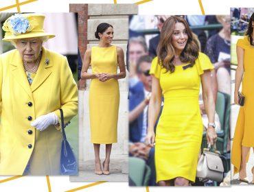 A cor da estação? Meghan, Kate, Amal – e até a Rainha Elizabeth – apostam no amarelo