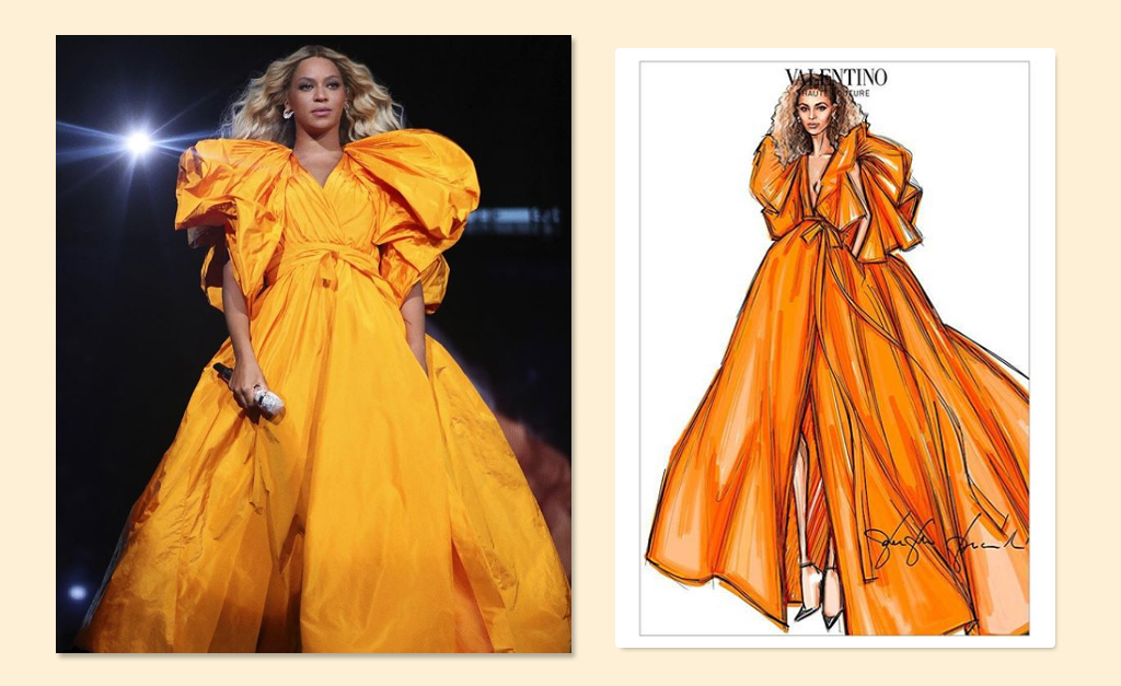 """89d6c2194 Beyoncé de vestido Alta-Costura Maison Valentino em show da turnê """"On the  Run II"""""""