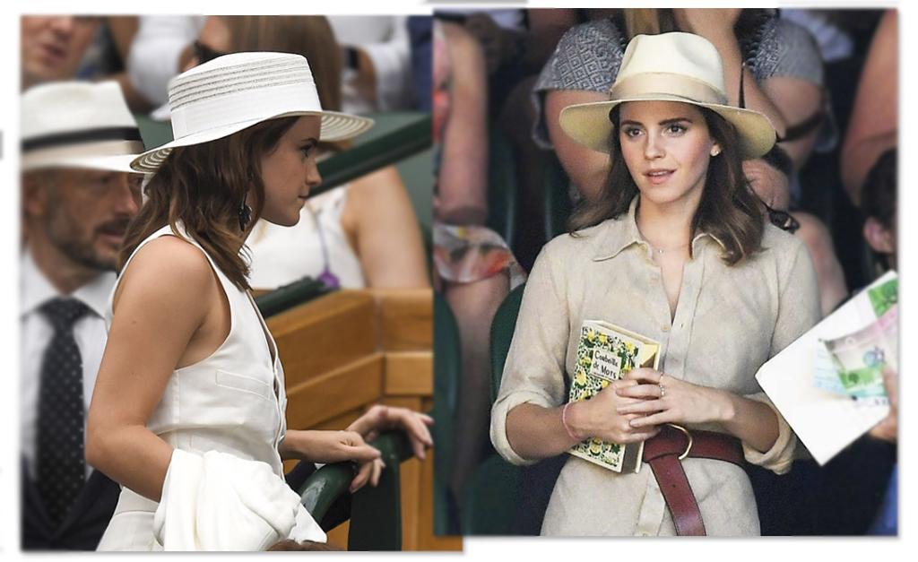 Para arrematar os dois looks a atriz elegeu chapéus de abas médias. Um com  o vinco bem marcado 529371bfea5
