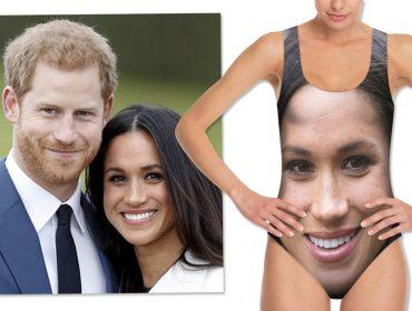 Maiôs com os rostos do príncipe Harry e de Meghan Markle são hits do verão britânico. Oi?