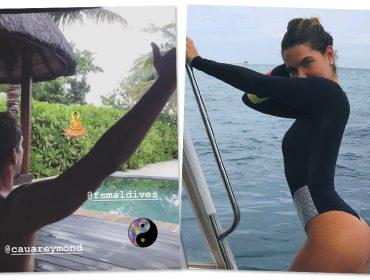 Cauã Reymond e Mariana Goldfarb curtem férias luxuosas e românticas nas Maldivas