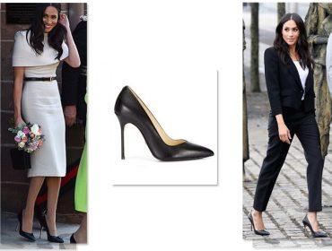 Meghan Markle usa quase sempre a mesma marca de sapatos e Glamurama conta qual é