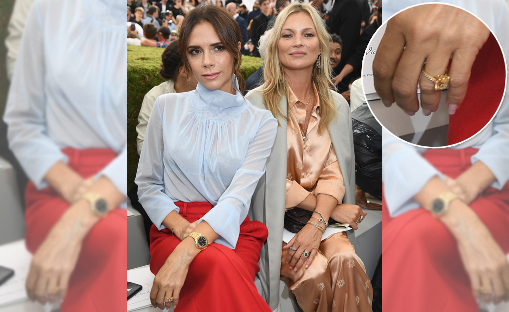 606ba16b04c9 Victoria Beckham ao lado de Kate Moss no desfile da coleção masculina da  Dior ostentando seu novo anel de noivado