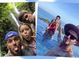 Sem poder sair de Bali por causa de terremoto, família Beckham decide curtir a ilha