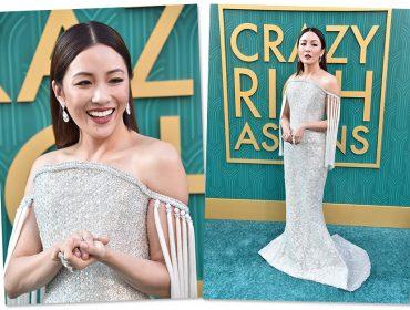 """Constance Wu brilha literalmente em première de """"Podres de Ricos"""" carregando mais de 200 mil cristais"""