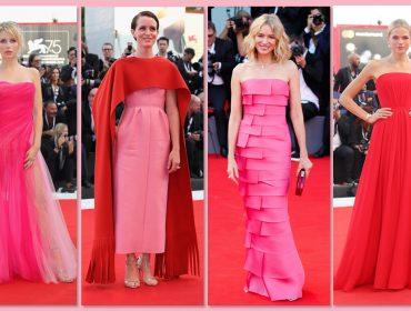 Vermelho e pink, juntos e separados, dominam primeiro red carpet do Festival de Veneza