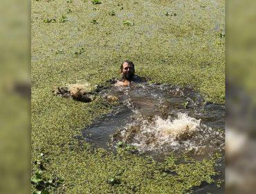 Primogênito de Trump ganha aposta ao mergulhar em pântano lotado de crocodilos