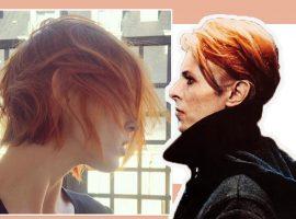 A top Anja Rubik adota visual 'à la' David Bowie para desfile da Saint Laurent