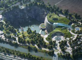 """Xangai ganha primeiro hotel """"subterrâneo"""" do mundo construído em pedreira abandonada"""