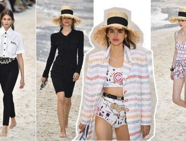 Karl Lagerfeld monta praia indoor em Paris para desfile Chanel, com salva-vidas, ondas e mais…