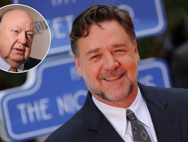 """Russell Crowe aparece irreconhecível – de novo! – nas gravações da minissérie na qual interpretará ex-chefão da """"Fox News"""""""