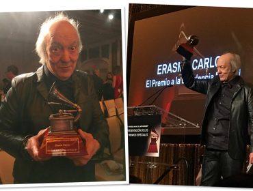 Acompanhado da namorada, Erasmo Carlos recebe homenagem pelo conjunto da obra durante Grammy Latino
