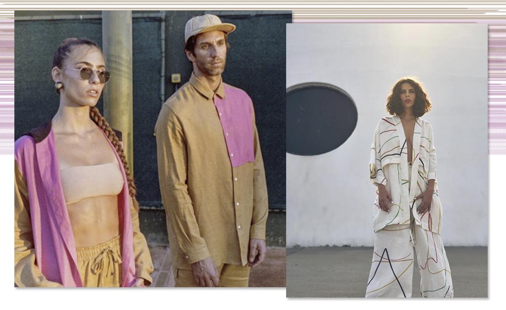 c23ba214d À esquerda, peças de linho com pegada sportswear da Perigo. À direita, look  da coleção Entrelinhas da Lab Collection em parceria com Leo Muqui ||  Créditos: ...
