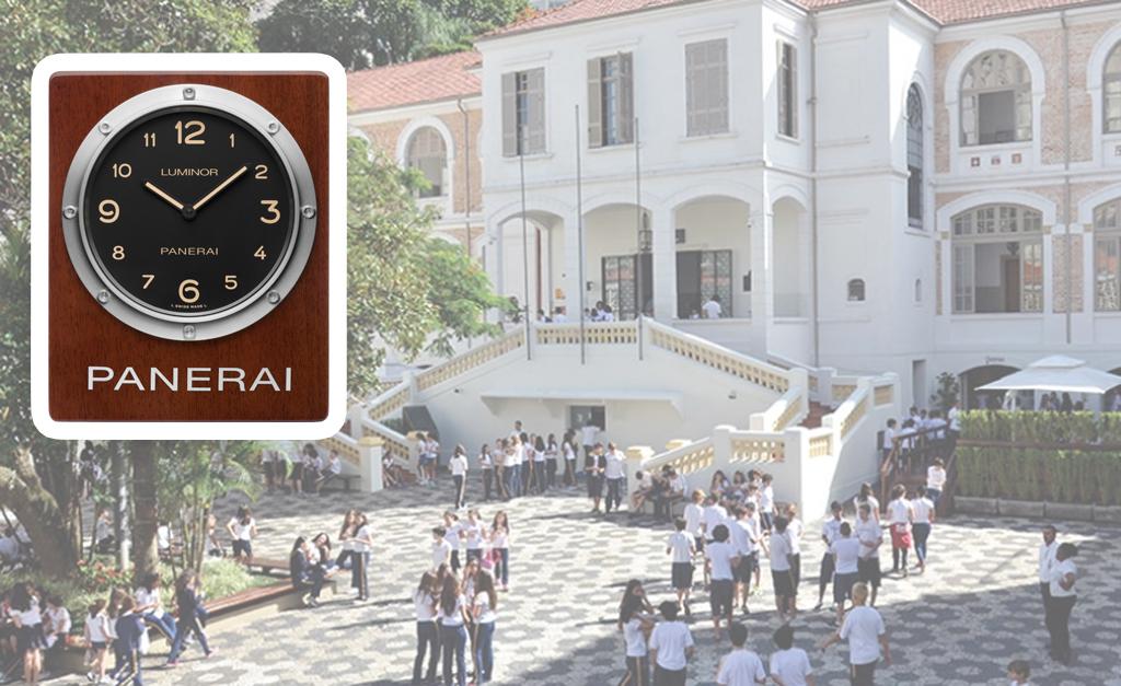 75c6bfa7e20 O pátio do Dante Alighieri e o relógio que passa a ocupar o hall de entrada  do colégio