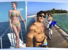 Prestes a fazer 39, Deborah Secco curte segunda lua de mel com o marido nas Maldivas