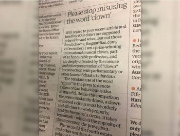Palhaço britânico ofendido com comparação com políticos protesta em carta enviada a jornal