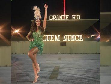 Rainha de bateria, Juliana Paes entra no clima do Carnaval em gravação de clipe da Grande Rio na Sapucaí