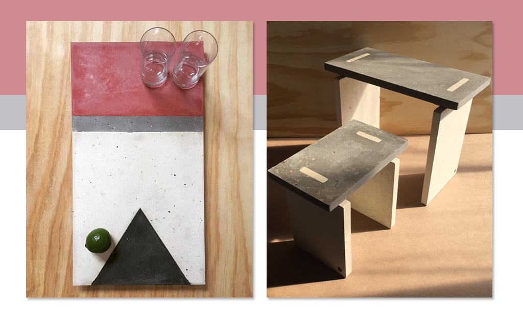 eeda1edbc Os exclusivos banco Paina e bandeja Bandeira: o concreto com múltiplas  possibilidades de uso e aplicações || Créditos: Divulgação