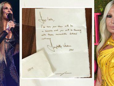 Glamurama mostra em primeira mão carta de Donatella Versace enviada a Ivete Sangalo