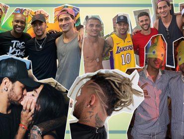 """Ufa! Neymar aterrissa no Brasil, corre para o salão e tem final de semana pra lá de agitado com os """"parças"""""""