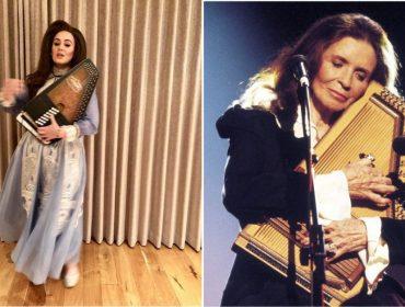 """Adele presta homenagem à """"ídola"""" June Carter Cash e se fantasia como a cantora morta em 2003"""
