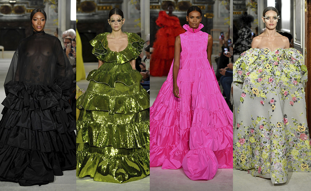 5c261a3d7 Os destaques da Valentino: Naomi Campbell. Kaia Gerber, Liya Kebede e  Natalia Vodianova || Créditos: Getty Images