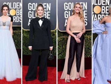 Looks da 76ªedição do Globo de Ouro são marcados por mulheres em tons de azul e calças