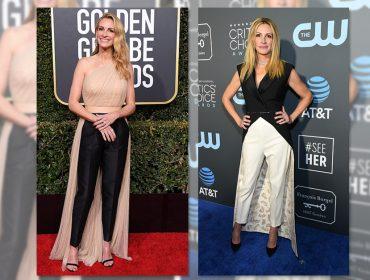 """Que moda é essa? """"Calça-vestido"""" é o novo look favorito deJulia Roberts e promete virar tendência"""