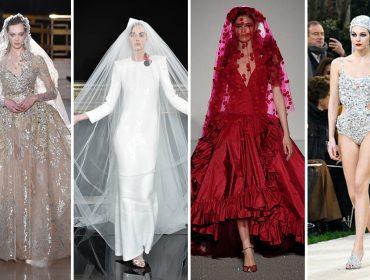 Os vestidos de noiva que pararam tudo nas passarelas de alta-costura em Paris…